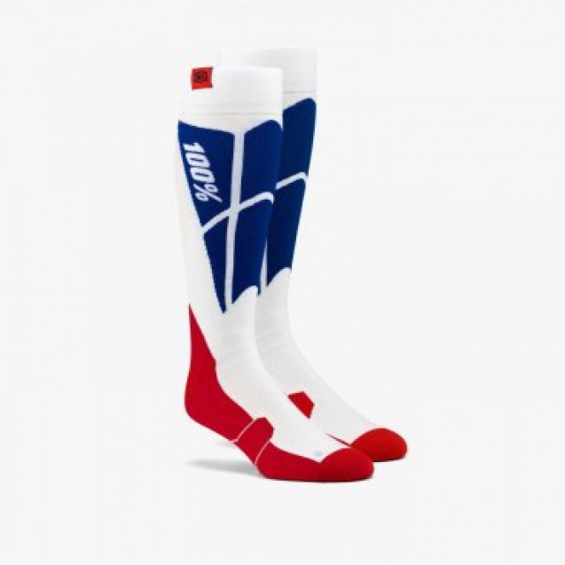Носки 100% Hi-Side Performance Moto Socks White/Blue