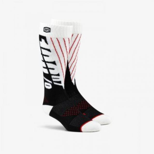 Носки 100% Torque Comfort Moto Socks Black/White