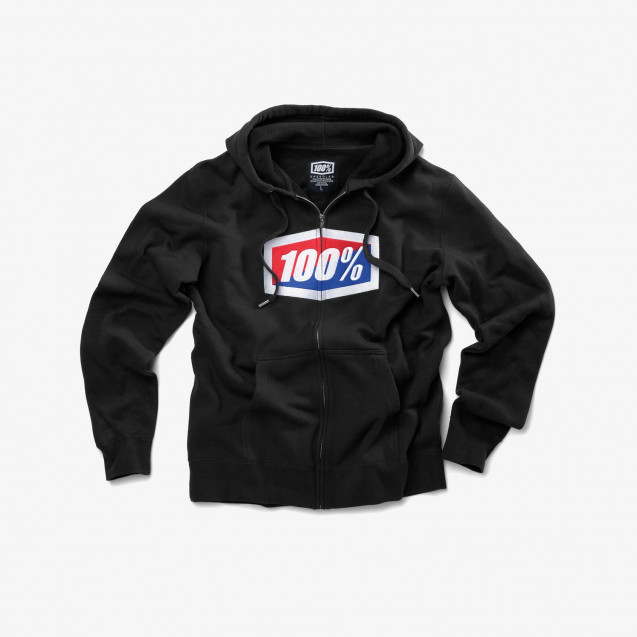 Толстовка 100% Official Zip Hooded Sweatshirt Black